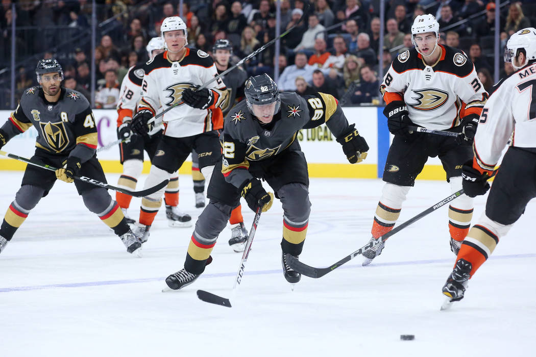 Vegas Golden Knights left wing Tomas Nosek (92) chases after the puck during the third period against Anaheim Ducks at T-Mobile Arena in Las Vegas, Tuesday, Dec. 5, 2017. Bridget Bennett Las Vegas ...