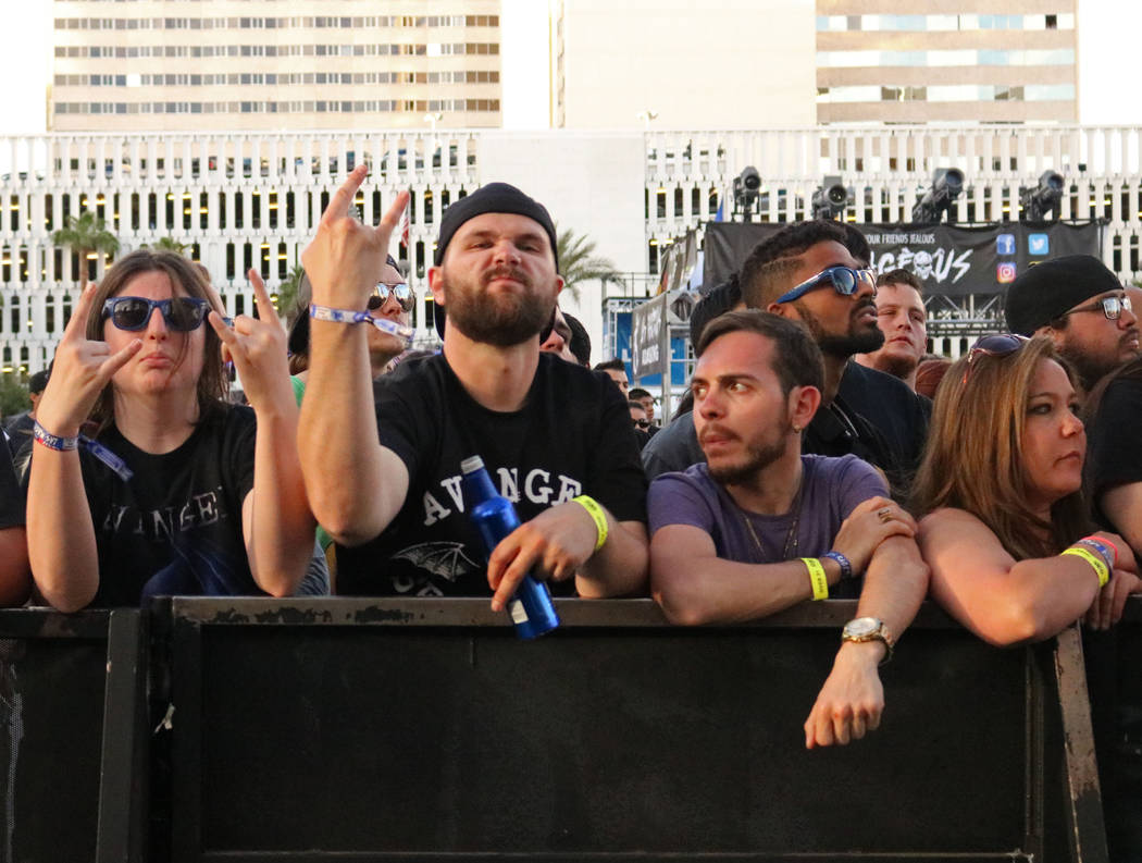 A crowd mugs for the camera during Las Rageous, a hard rock music festival in downtown Las Vegas, Saturday, April 22, 2017. Gabriella Benavidez Las Vegas Review-Journal @gabbydeebee