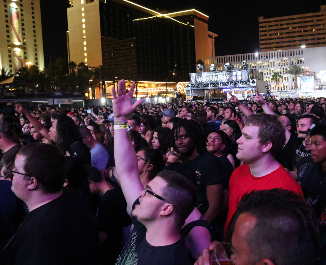 The crowd singing and waving their hands during Mastodon's performance at Las Rageous, a hard rock music festival in downtown Las Vegas, Saturday, April 22, 2017. Gabriella Benavidez Las Vegas Rev ...