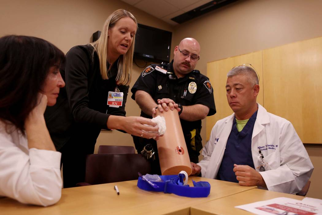 St. Rose Dominican Hospital and Henderson officials are trained how to stop severe bleeding by University Medical Center personnel at St. Rose Dominican Hospital Siena Campus, Monday, Nov. 27, 201 ...