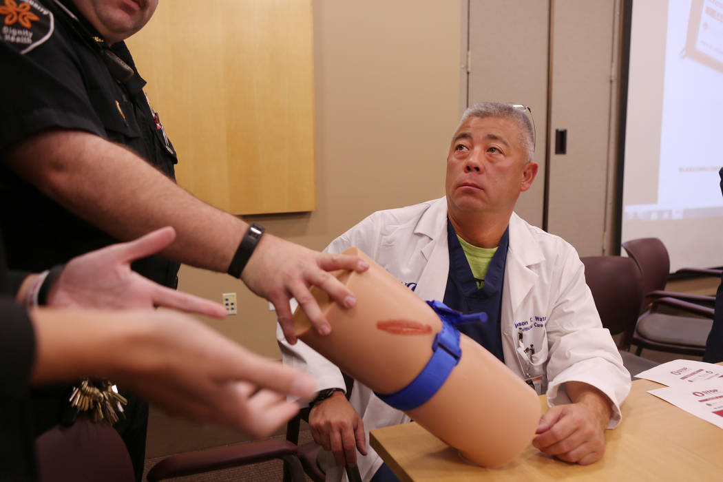 Dr. Wilson T. Watanabe participates in a training by University Medical Center to train St. Rose Dominican Hospital and Henderson officials in how to stop severe bleeding, at St. Rose Dominican Ho ...