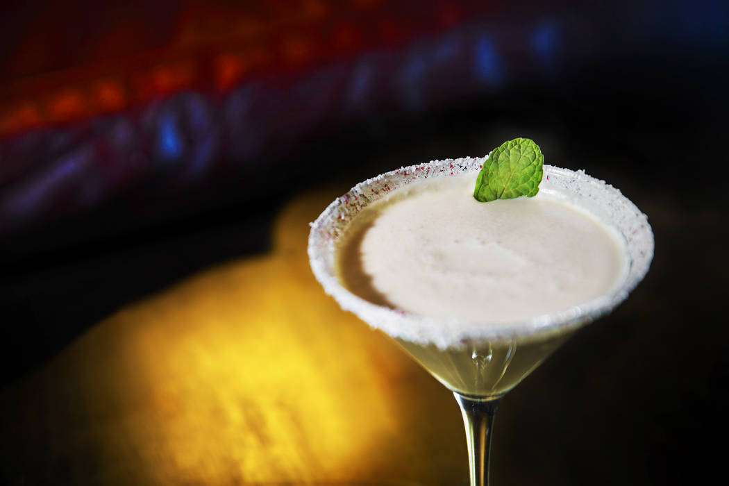 Peppermint bliss with Hennessey Black cognac, Menta Fernet Vittone, Godiva chocolate liqueur, chocolate bitters mist, peppermint dust , heavy whipping cream and fresh mint at Monkey Bar on Friday, ...