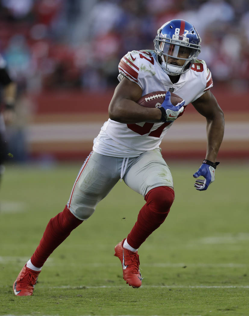 New York Giants wide receiver Sterling Shepard (87) runs against the San Francisco 49ers during the second half of an NFL football game in Santa Clara, Calif., Sunday, Nov. 12, 2017. (AP Photo/Mar ...