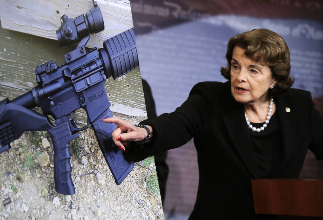 FILE - In this Wednesday, Oct. 4, 2017, file photo, Sen. Dianne Feinstein, D-Calif., speaks during a news conference about gun legislation on Capitol Hill in Washington. Seeking momentum for gun r ...