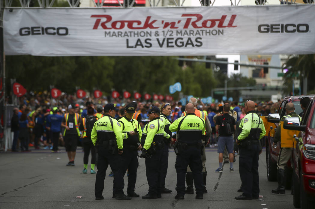 Henderson police officers gather at the start line of the Rock 'n' Roll Marathon in Las Vegas on Sunday, Nov. 12, 2017. Chase Stevens Las Vegas Review-Journal @csstevensphoto