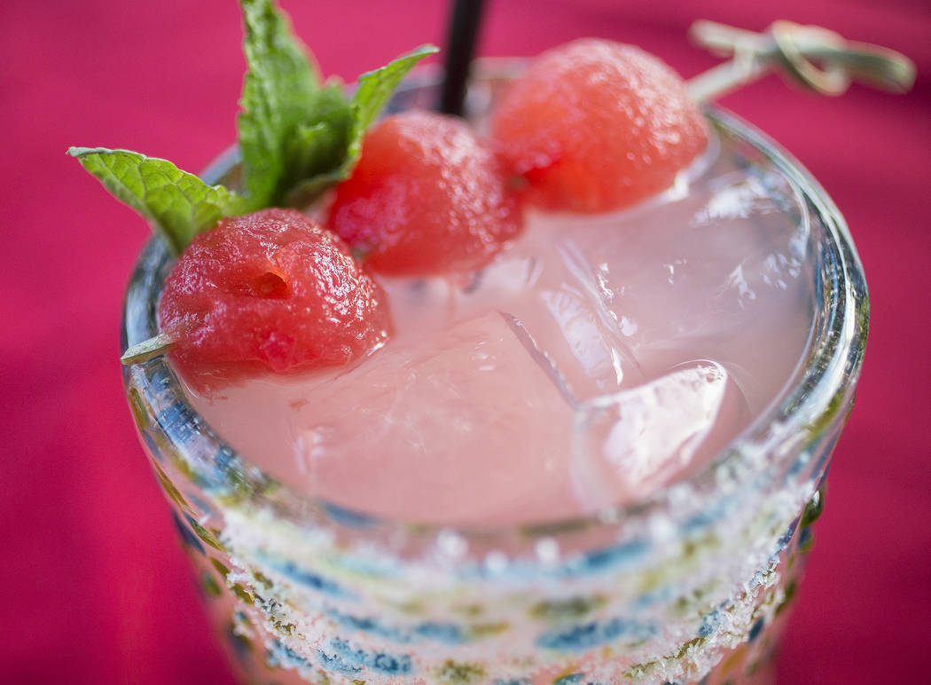 Sandia margarita with Sauza Blue tequila, Marie Brizard watermelon liqueur and fresh watermelon at Bandito Latin Kitchen & Cantina on Saturday, Dec. 2, 2017, in Las Vegas. Benjamin Hager Las V ...