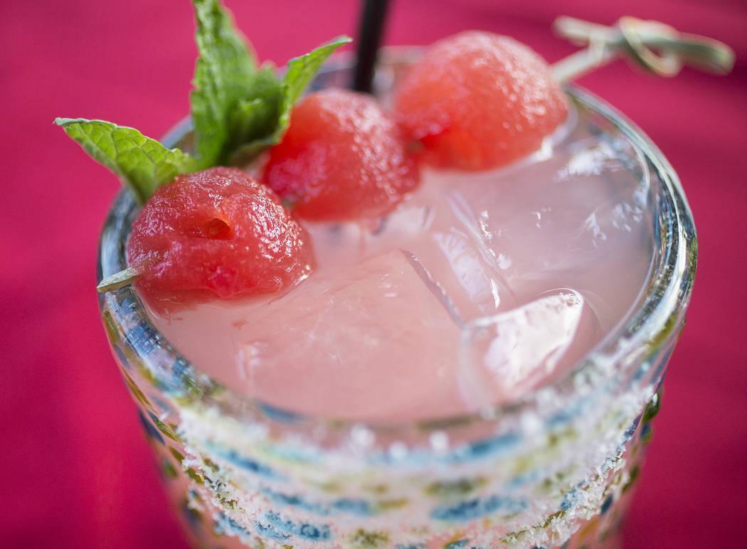 Sandia margarita with Sauza Blue tequila, Marie Brizard watermelon liqueur and fresh watermelon at Bandito Latin Kitchen & Cantina on Saturday, Dec. 2, 2017, in Las Vegas. Benjamin Hager Las V ...