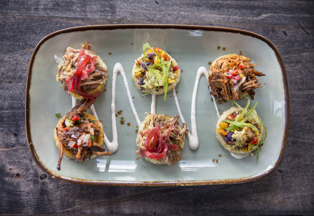 Sope sampler with barbacoa, carnitas and roasted vegetables at Bandito Latin Kitchen & Cantina on Saturday, Dec. 2, 2017, in Las Vegas. Benjamin Hager Las Vegas Review-Journal @benjaminhphoto