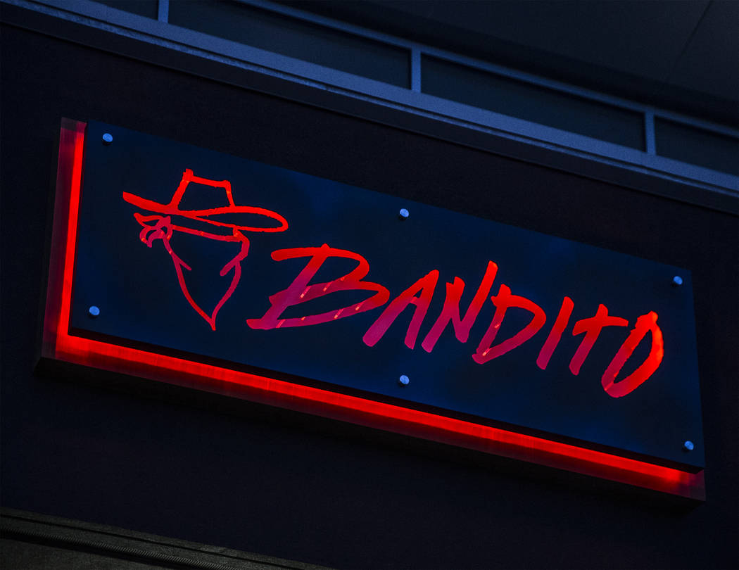 Signage at Bandito Latin Kitchen & Cantina on Saturday, Dec. 2, 2017, in Las Vegas. Benjamin Hager Las Vegas Review-Journal @benjaminhphotoat