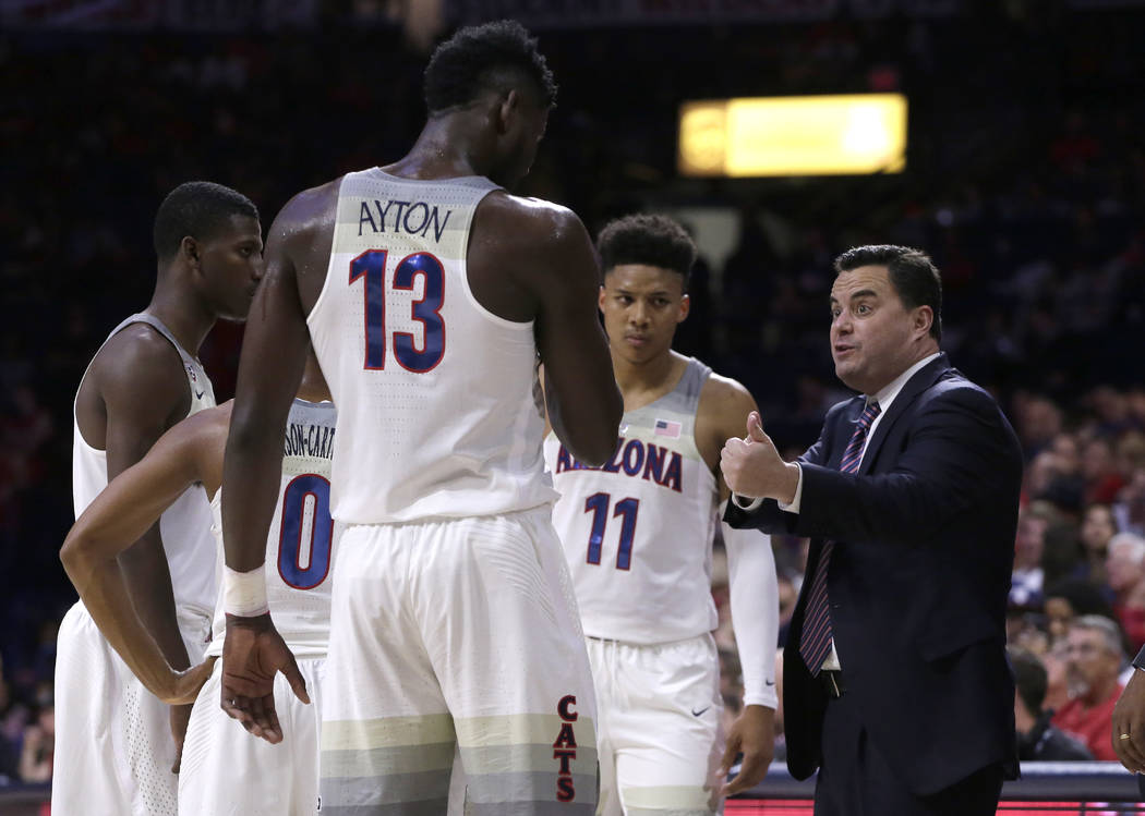 Arizona head coach Sean Miller in the second half during an NCAA college basketball game against Cal State Bakersfield, Thursday, Nov. 16, 2017, in Tucson, Ariz. Arizona defeated Cal State Bakersf ...