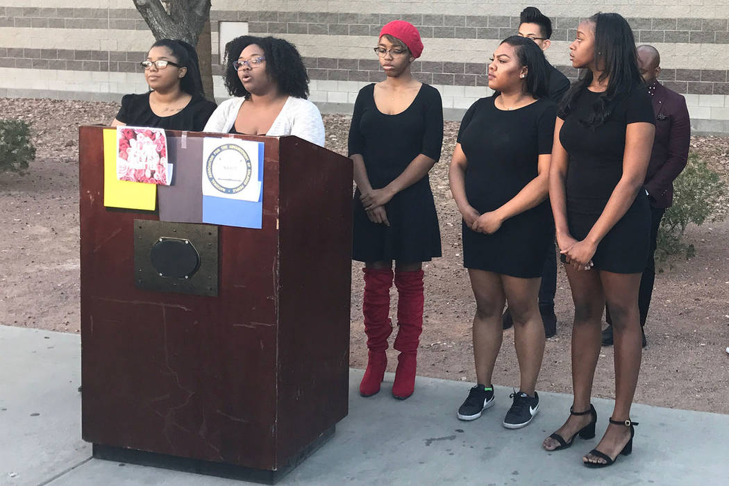 Ashley Hamilton, president of Black Lives Matter UNLV and secretary for the campus chapter of NAACP, speaks at a press conference, Thursday, Nov. 30, 2017, in Las Vegas. Black Lives Matter UNLV an ...