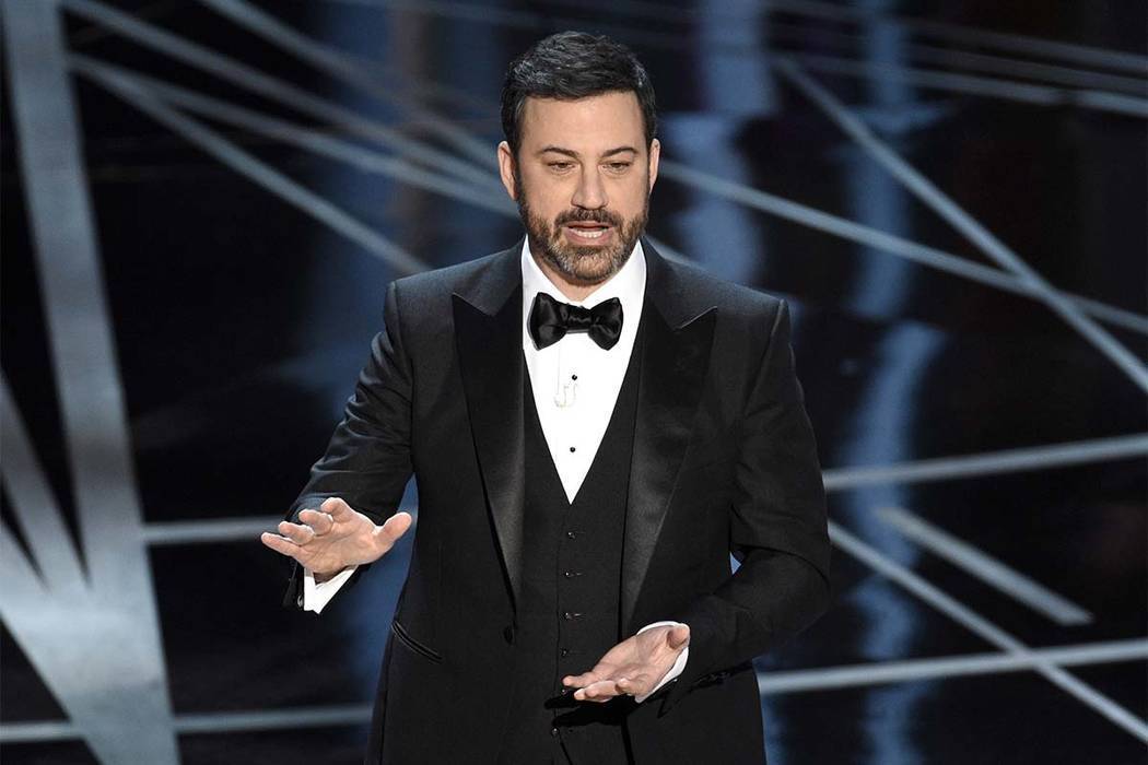 In this Feb. 26, 2017 file photo, host Jimmy Kimmel appears at the Oscars in Los Angeles. Kimmel accepted U.S. Senate candidate Roy Moore's invitation to meet him in Alabama on Nov. 30, 2017, afte ...