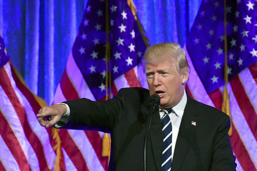 President Donald Trump speaks at a fundraiser at Cipriani in New York, Saturday, Dec. 2, 2017. (AP Photo/Susan Walsh)