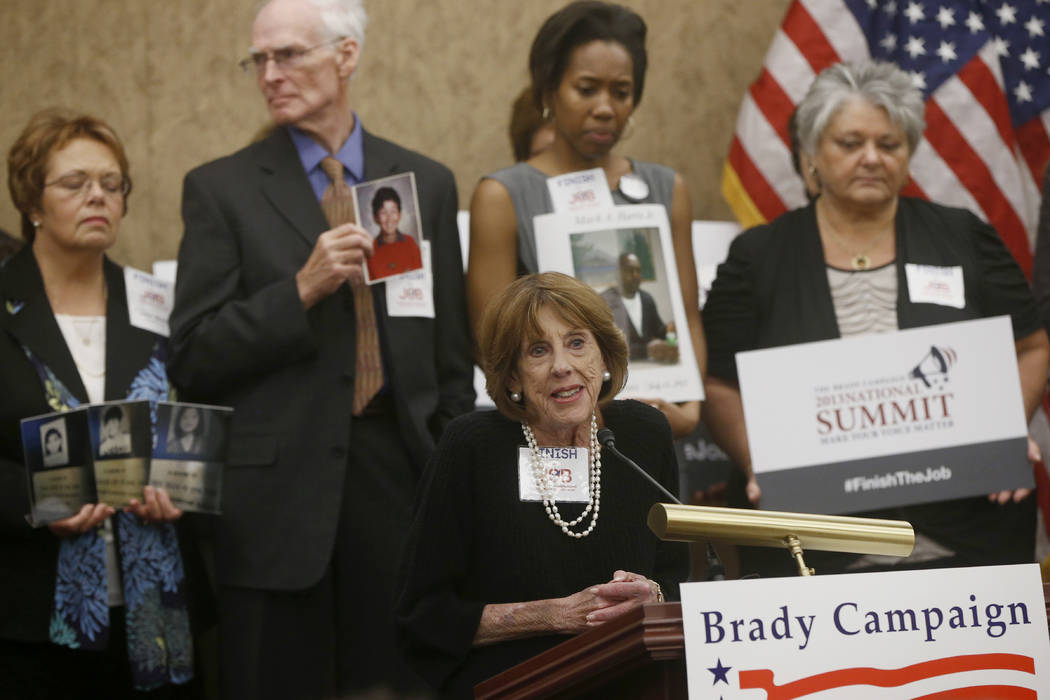 Sarah Brady, wife of former White House press secretary Jim Brady, who was wounded during President Reagan's assassination attempt, and chair of the Brady Campaign to Prevent Gun Violence, speaks  ...