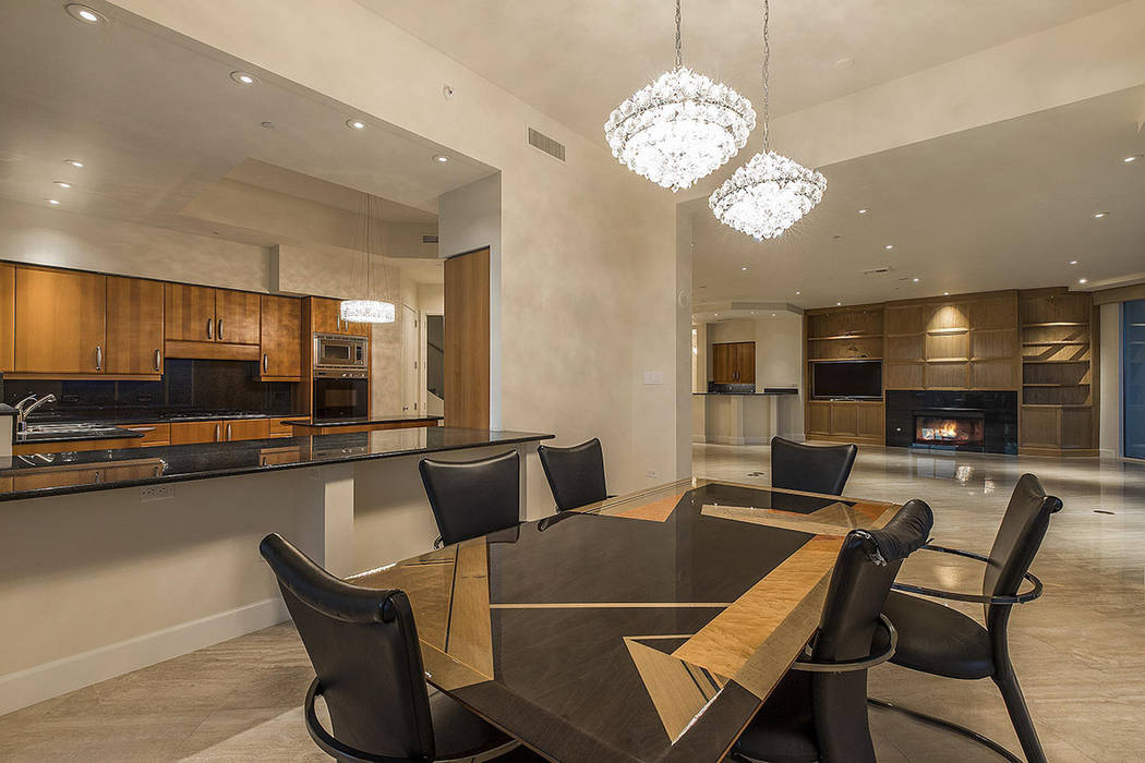 The dining room in the Turnberry Place unit. (Shapiro & Sher Group)