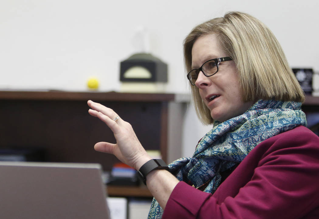 Dr. Margo Martin, vice president Academic Affairs at College of Southern Nevada, speaks during an interview with the Las Vegas Review-Journal at her office on Monday, Dec 4, 2017, in Las Vegas. Bi ...