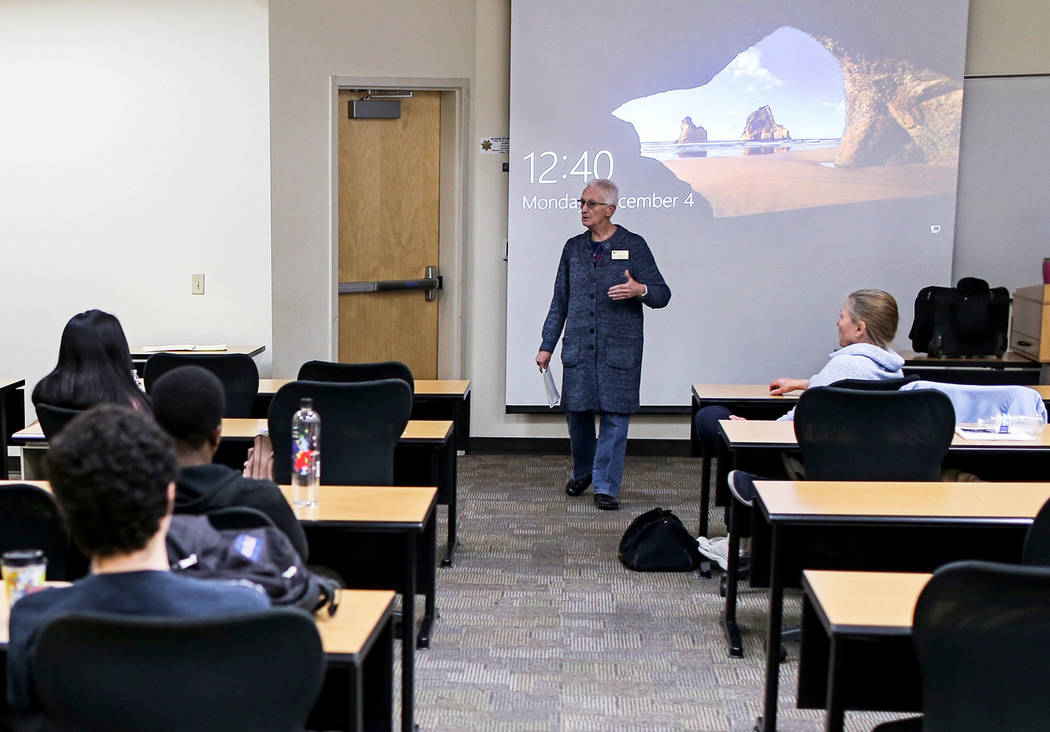 Part-time instructor Hazel Jackson teaches her Introduction to Anthropology course at the College of Southern Nevada in North Las Vegas, Monday, Dec. 4, 2017. Joel Angel Juarez Las Vegas Review-Jo ...