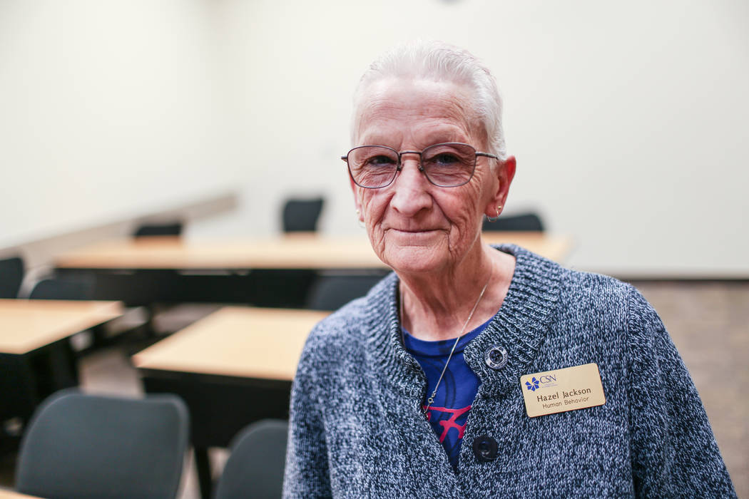 Part-time instructor Hazel Jackson poses for a portrait before her Introduction to Anthropology course at the College of Southern Nevada in North Las Vegas, Monday, Dec. 4, 2017. Joel Angel Juarez ...