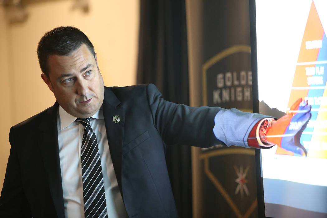 Misha Donskov, the director of hockey operations for the Golden Knights, leads a session of Vegas Golden Knights University, a five-session program to give fans an in-depth und ...
