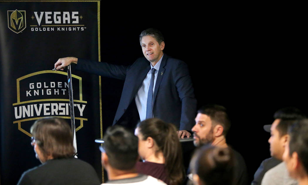 Vegas Golden Knights Senior Vice President Murray Craven leads a session of Vegas Golden Knights University, a five-session program to give fans an in-depth understanding of the ins and outs of ho ...