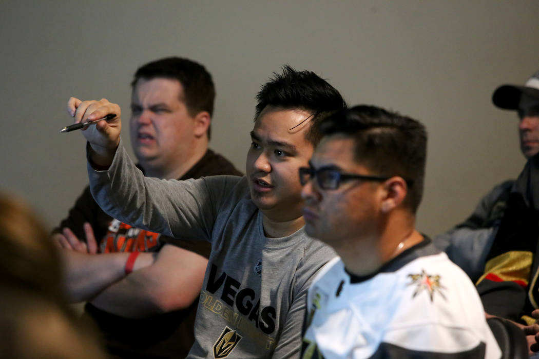 Kale Ng asks a question during a session of Vegas Golden Knights University, a five-session program to give fans an in-depth understanding of the ins and outs of hockey at the T-Mobile Arena in La ...