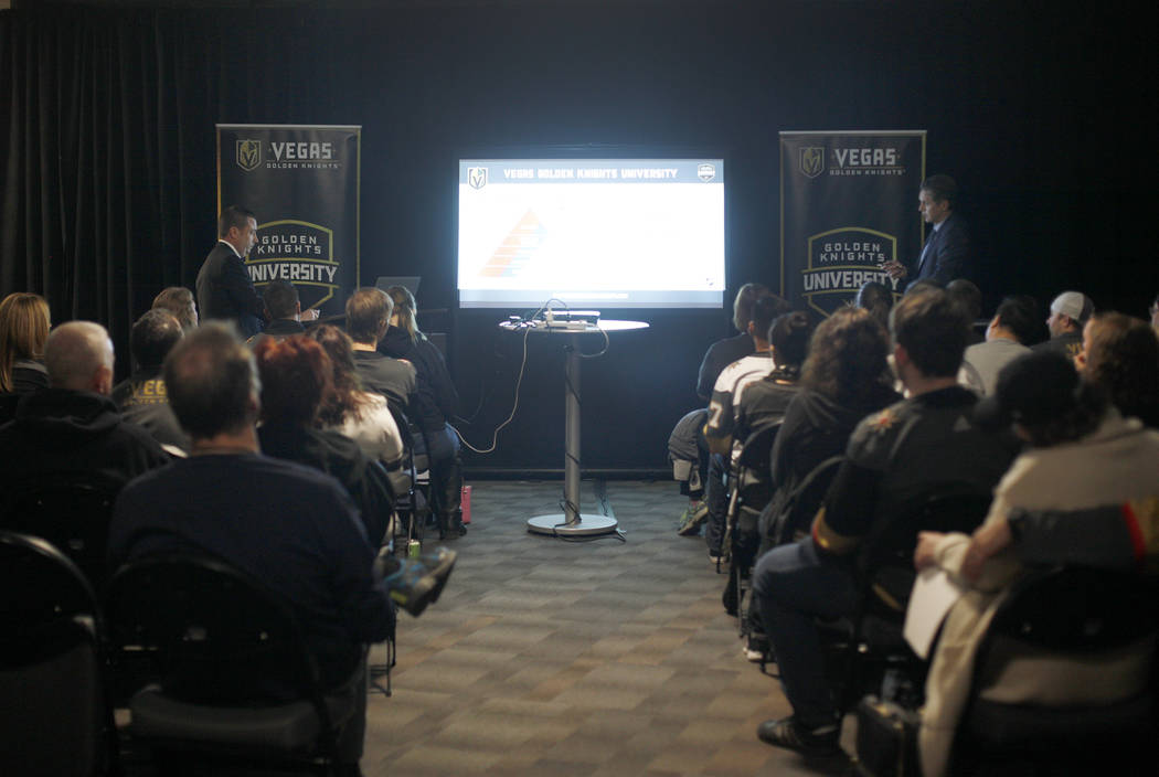 Misha Donskov, the director of hockey operations for the Golden Knights, left, and Vegas Golden Knights Senior Vice President Murray Craven lead a session of Vegas Golden Knigh ...