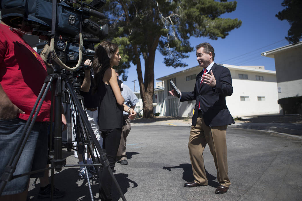 "UNLV President Len Jessup speaks to the media during the groundbreaking ceremony for a 760-bed building, ""The Degree,"" that will house UNLV students at 4259 South Maryland Parkway on Tuesday, May  ..."