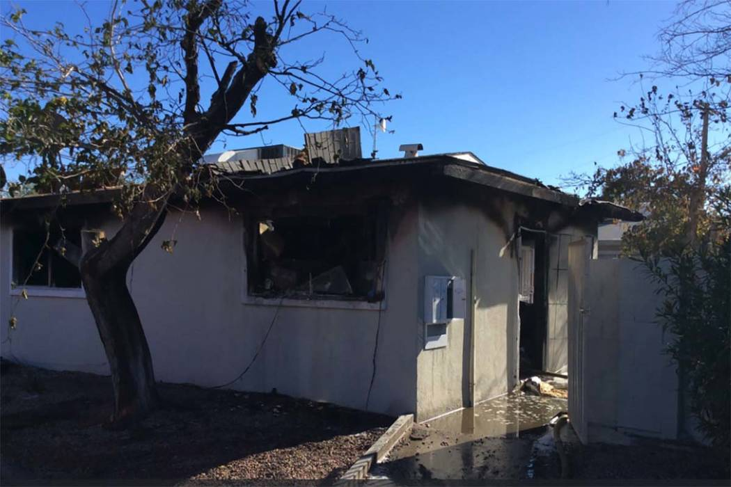 Two children were taken to University Medical Center for smoke inhalation after a fire at an apartment building in the 2600 block of Mesquite Avenue in central Las Vegas, Friday, Dec. 1, 2017. (La ...
