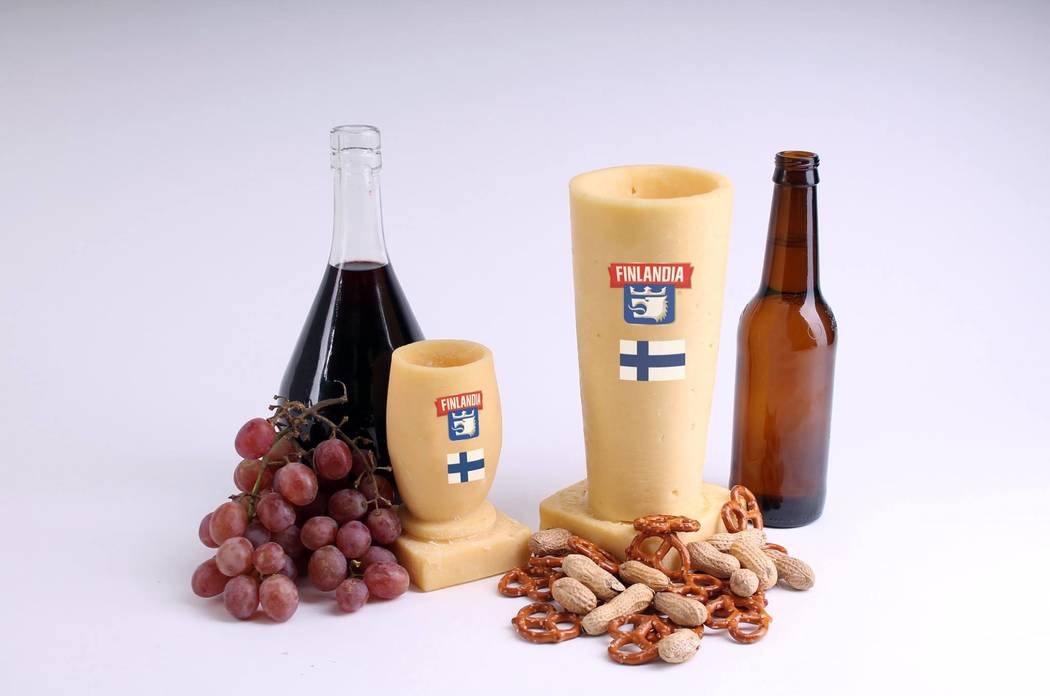wine glass and a beer mug from Finlandia, made entirely of cheese. Facebook