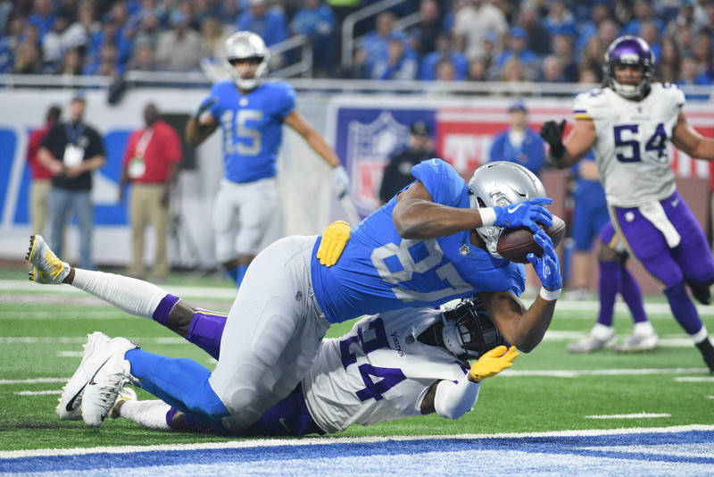 Nov 23, 2017; Detroit, MI, USA; Detroit Lions tight end Darren Fells (87) scores a touchdown which is later ruled incomplete as Minnesota Vikings defensive back Tramaine Brock (24)defends during t ...