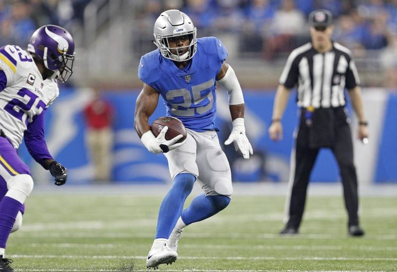 Nov 23, 2017; Detroit, MI, USA; Detroit Lions running back Theo Riddick (25) runs the ball during the third quarter against Minnesota Vikings cornerback Terence Newman (23) at Ford Field. Mandator ...