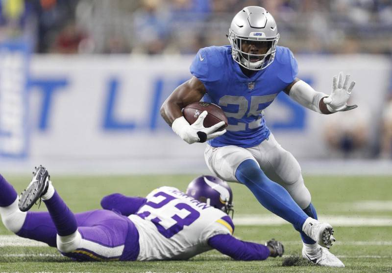 Nov 23, 2017; Detroit, MI, USA; Detroit Lions running back Theo Riddick (25) runs by Minnesota Vikings cornerback Terence Newman (23) during the third quarter at Ford Field. Mandatory Credit: Raj  ...