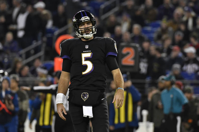 Nov 27, 2017; Baltimore, MD, USA; Baltimore Ravens quarterback Joe Flacco (5) reacts after the first drive against the Houston Texans during the first quarter at M&T Bank Stadium. Baltimore Ra ...