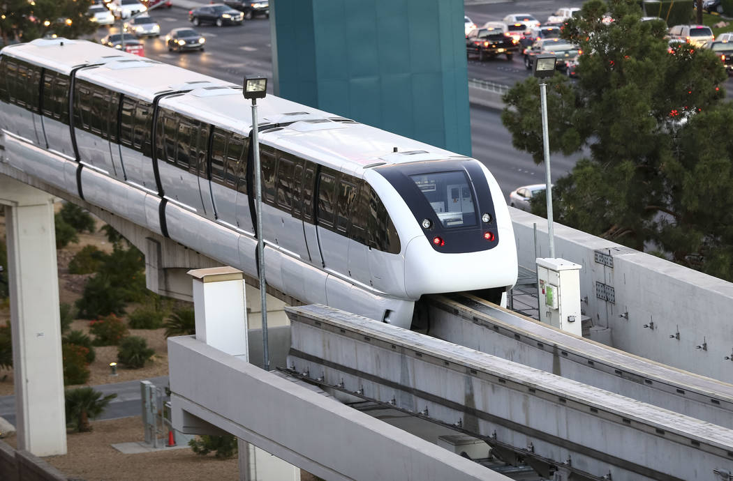 The Las Vegas Monorail turns around at MGM Grand on Thursday, Dec. 14, 2017. Richard Brian Las Vegas Review-Journal @vegasphotograph
