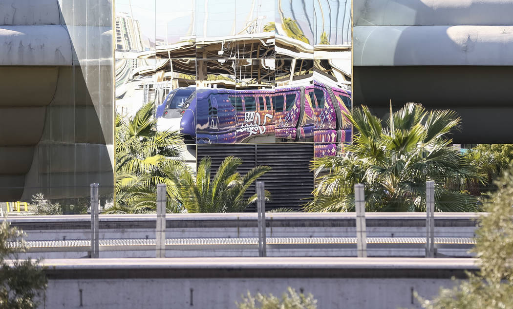 The Las Vegas Monorail reflects on the MGM Grand on Friday, Dec. 15, 2017. Richard Brian Las Vegas Review-Journal @vegasphotograph