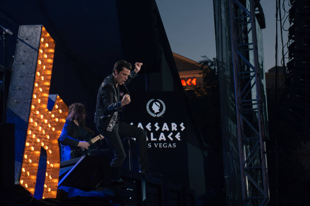 The Killers played a special pop-up performance at Caesars Palace on the Las Vegas Strip on July 31, 2017. The Killers are among the entertainers who will perform at the Vegas Strong Benefit conce ...