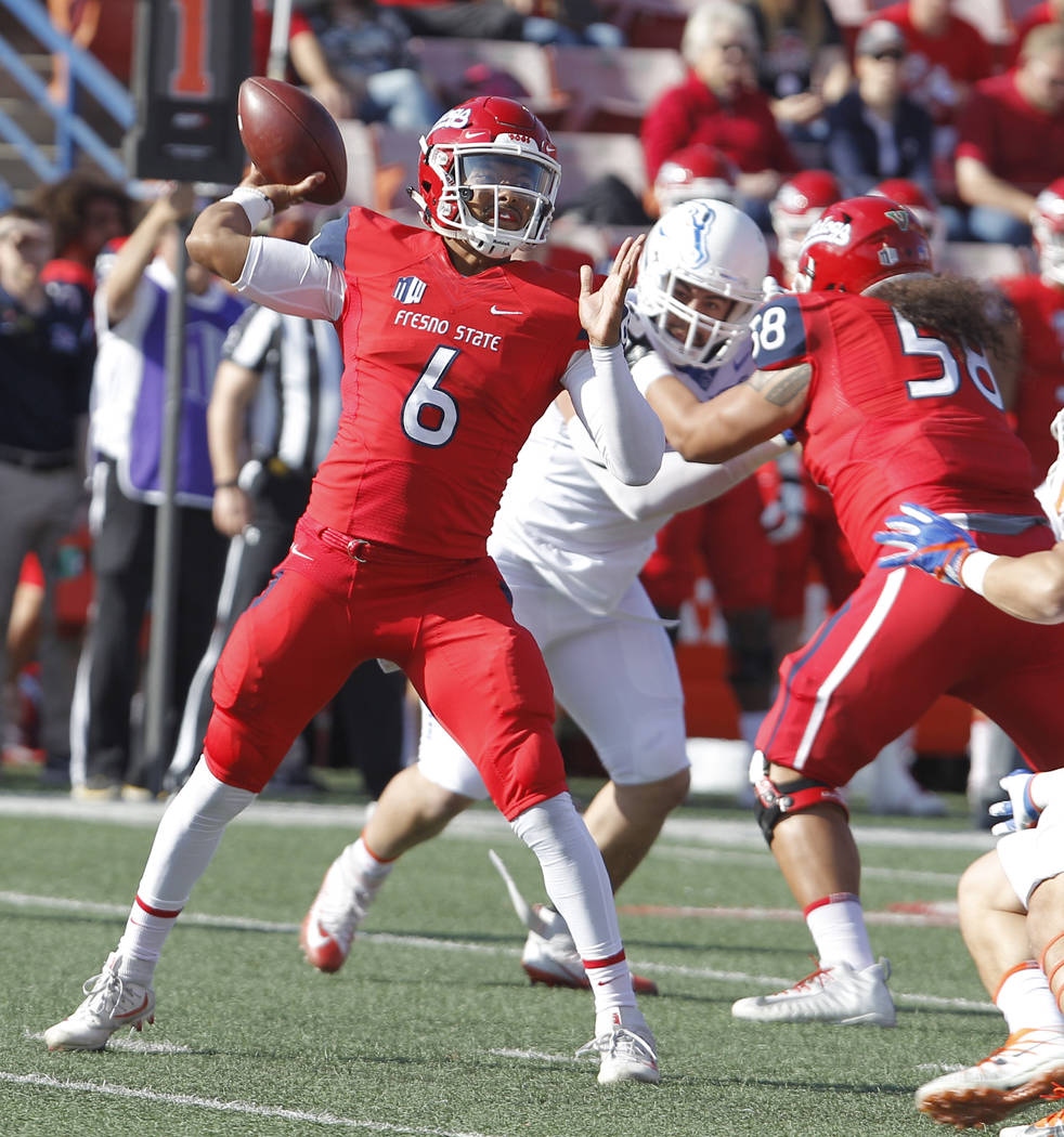 Fresno State's quarterback Marcus McMaryion drops back to pass against Boise State during the first half of an NCAA college football game in Fresno, Calif., Saturday, Nov. 25 2017. (AP Photo/Gary  ...