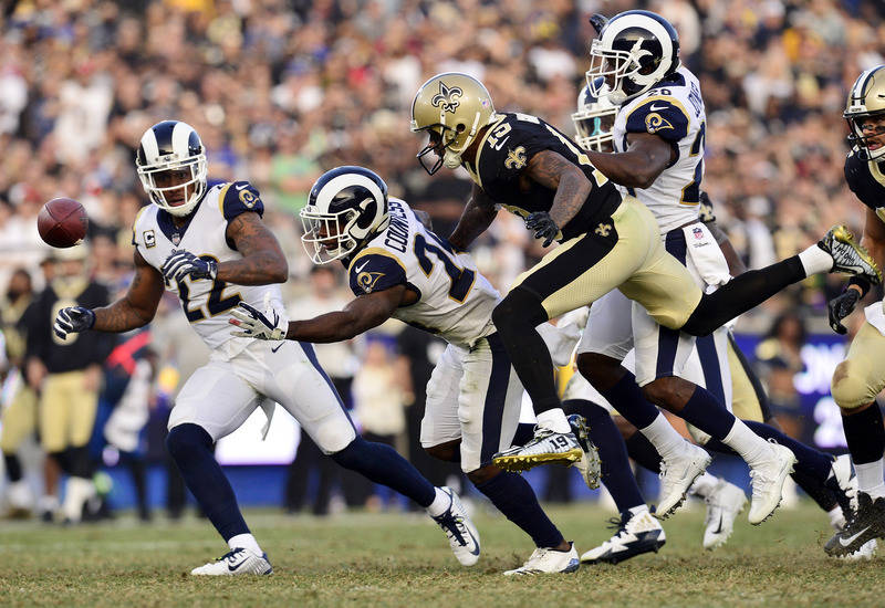 November 26, 2017; Los Angeles, CA, USA; Los Angeles Rams cornerback Trumaine Johnson (22) and cornerback Blake Countess (24) break up a pass intended for New Orleans Saints wide receiver Ted Ginn ...