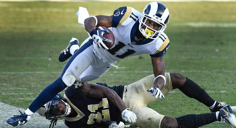 Nov 26, 2017; Los Angeles, CA, USA; New Orleans Saints cornerback De'Vante Harris (21) knocks Los Angeles Rams wide receiver Tavon Austin (11) out of bounds during the fourth quarter at Los Angele ...