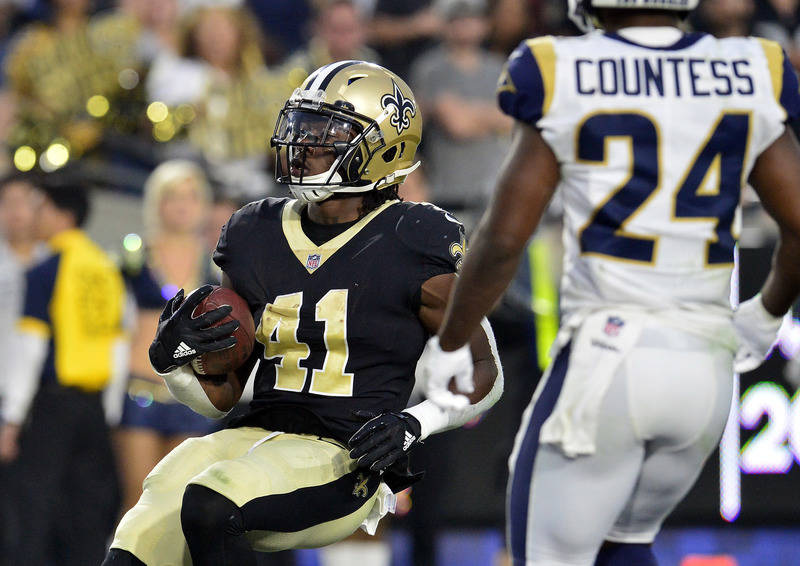 November 26, 2017; Los Angeles, CA, USA; New Orleans Saints running back Alvin Kamara (41) runs the ball in for a touchdown against the Los Angeles Rams during the second half at the Los Angeles M ...