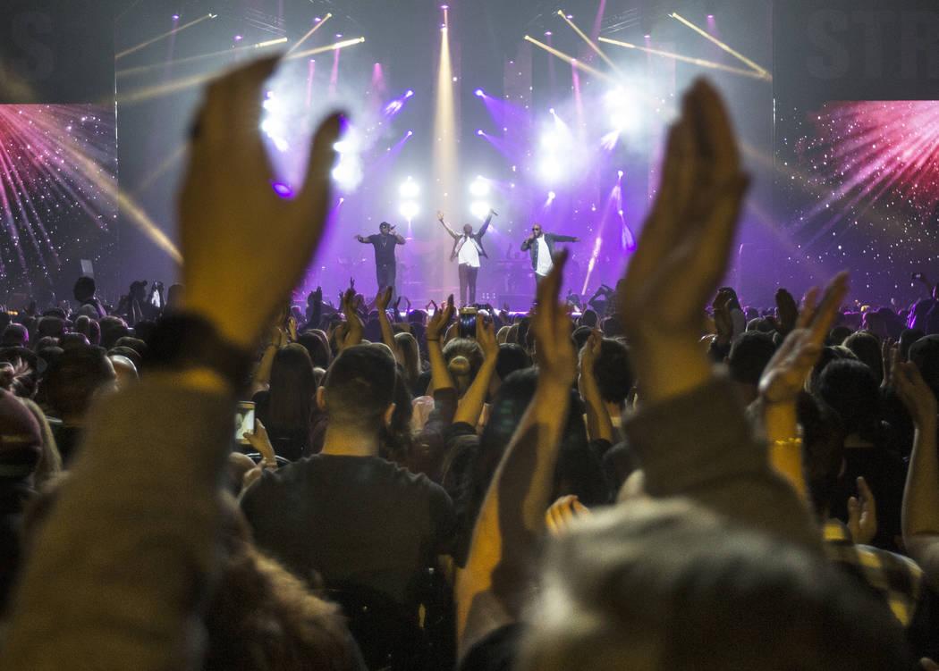 Boyz II Men perform during the Vegas Strong Benefit Concert at T-Mobile Arena on Friday, Dec. 1, 2017, in Las Vegas. Benjamin Hager Las Vegas Review-Journal @benjaminhphoto