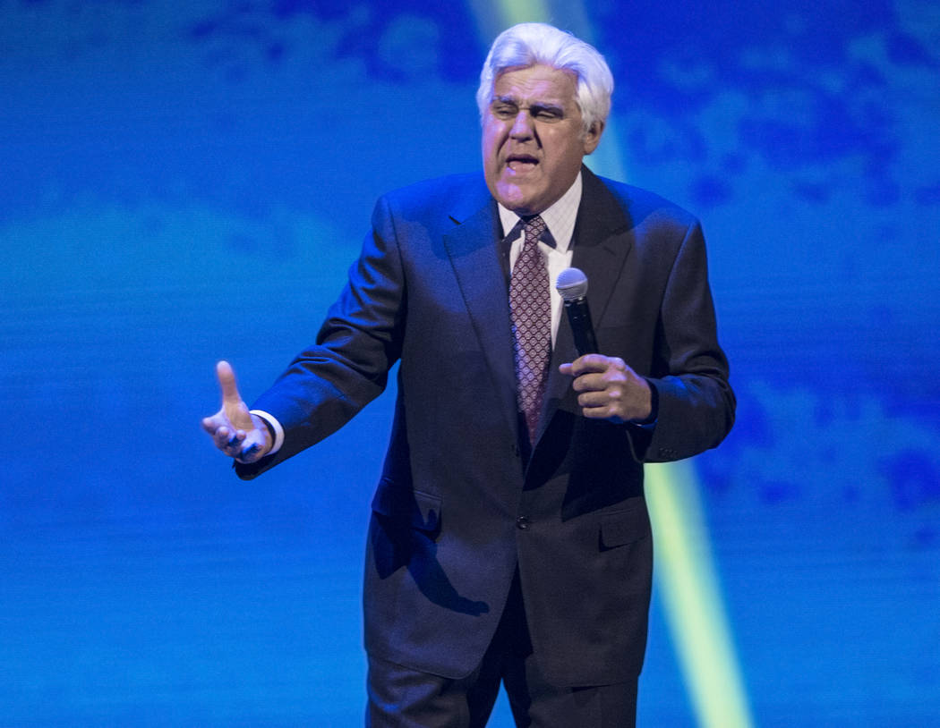 Jay Leno performs during the Vegas Strong Benefit Concert at T-Mobile Arena on Friday, Dec. 1, 2017, in Las Vegas. Benjamin Hager Las Vegas Review-Journal @benjaminhphoto