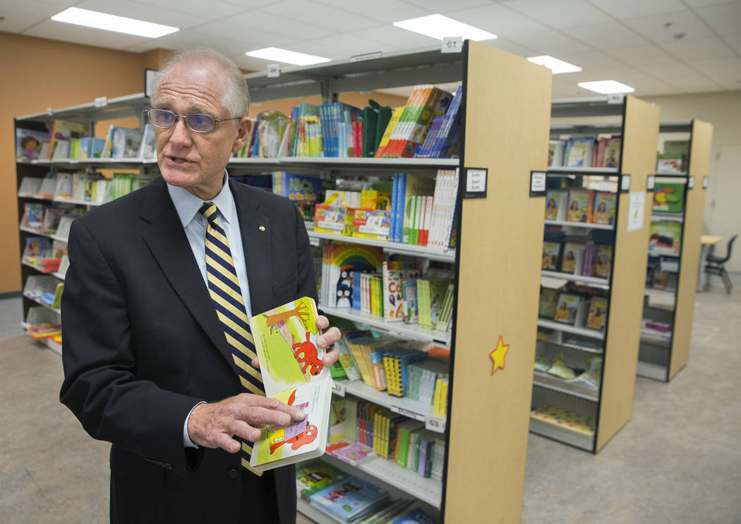 Vegas PBS general manager Tom Axtell points out children's books available in their media center on Wednesday, Nov. 29, 2017, at Vegas PBS, in Las Vegas. Benjamin Hager Las Vegas Review-Journal @b ...