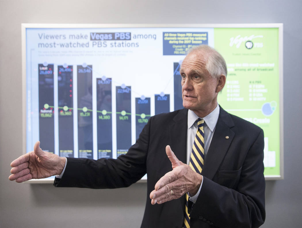 Vegas PBS general manager Tom Axtell points out the Las Vegas non-profit's high viewership numbers on Wednesday, Nov. 29, 2017, at Vegas PBS. Benjamin Hager Las Vegas Review-Journal @benjaminhphoto