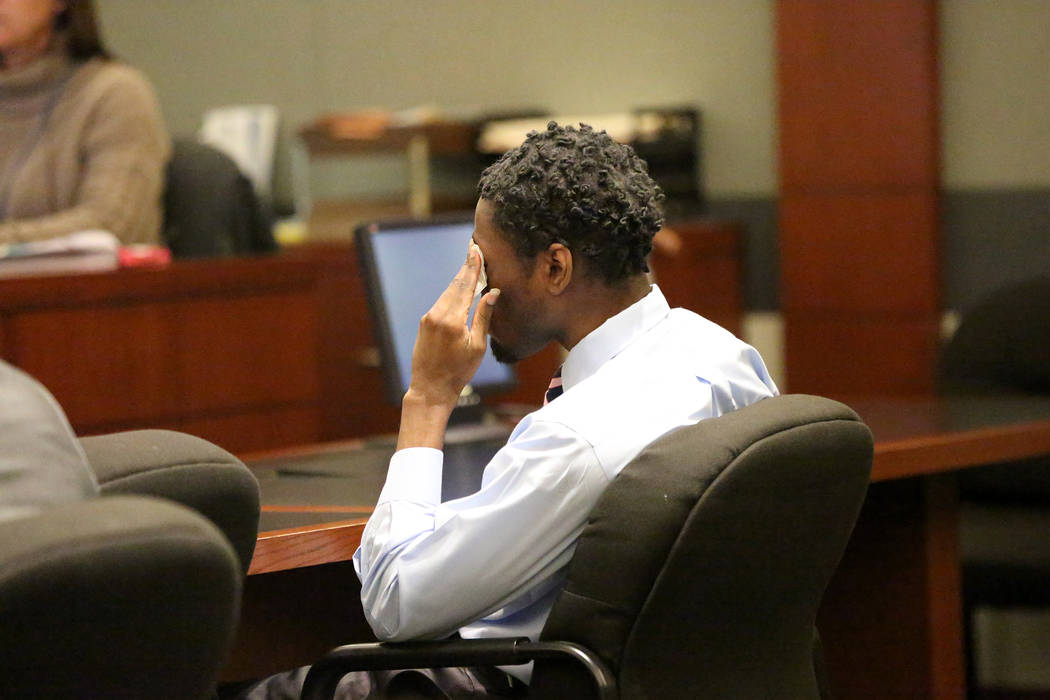 Bryan Clay, the Las Vegas man convicted of raping and murdering a mother and her 10-year-old daughter, is driven to tears as his mother, Latasha White, testifies during the penalty phase&#xa0 ...
