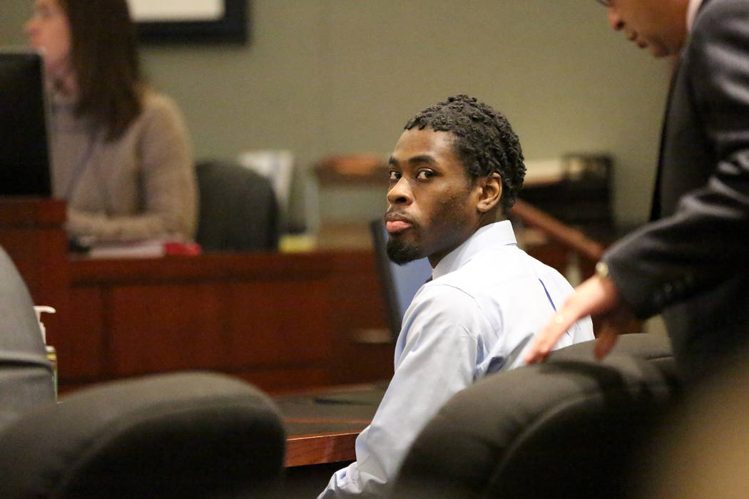 Bryan Clay, the Las Vegas man convicted of raping and murdering a mother and her 10-year-old daughter, appears in court during the penaltyʰhaseʯf his trial on Friday, Dec. 1, 2017.  Mi ...