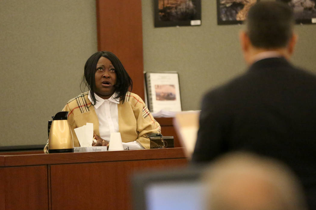 Latasha White testifies on Friday, Dec. 1, 2017 during the penaltyphase of her son, Bryan Clay, the Las Vegas man convicted of raping and murdering a mother and her 10-year-old daughter in 2 ...