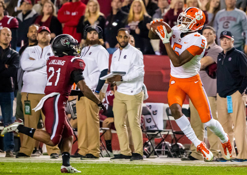 Nov 25, 2017; Columbia, SC, USA; Clemson Tigers wide receiver Tee Higgins (5) makes a long reception over South Carolina Gamecocks defensive back Jamyest Williams (21) in the first half at William ...