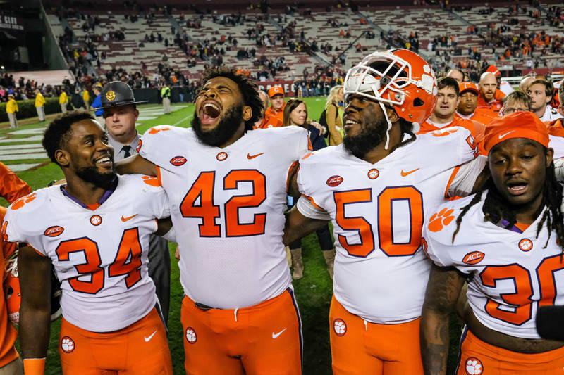 Nov 25, 2017; Columbia, SC, USA; Clemson Tigers celebrate their victory over South Carolina Gamecocks at Williams-Brice Stadium. Mandatory Credit: Jim Dedmon-USA TODAY Sports