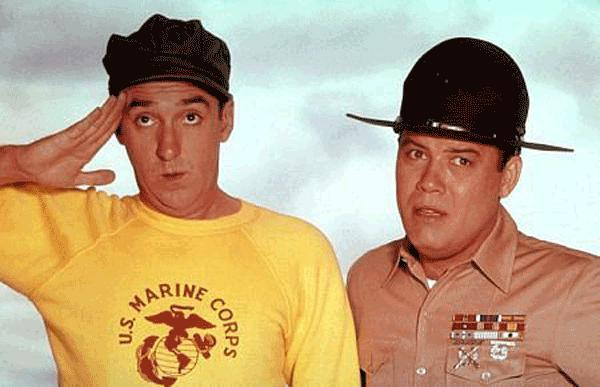 """Jim Nabors, left, stars as """"Gomer Pyle, U.S.M.C.,"""" and Frank Sutton is his apoplectic sergeant. The beloved 1960s sitcom has been released on DVD in a complete-series set."""